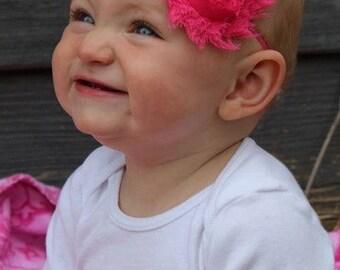 Hot Pink Shabby Chic Rose Headband - Infant Headband - Newborn Headband - Children's Headband - Skinny Shabby Headband
