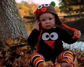 Crochet Turkey Hat, Baby Turkey Hat, Brown Turkey Hat, Toddler Turkey Hat, Newborn Turkey Hat, Thanksgiving Hat, Knit Turkey Hat,Photo Prop