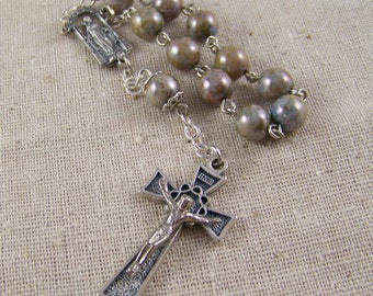 handmade Catholic rosary tenner,  pocket rosary with faux stone beads in gray brown