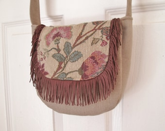 Boho Tapestry Fringe Cross Body Messenger Bag
