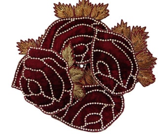 Decorative Royal Beaded Velvet Applique Supplies Burgundy Floral Pattern Sewing Fabric Patches Indian Sewing Dress Appliques By 2 Pcs RAP162