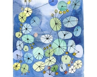 Watercolor print, blue painting Constellation watercolor blue dots connected circles