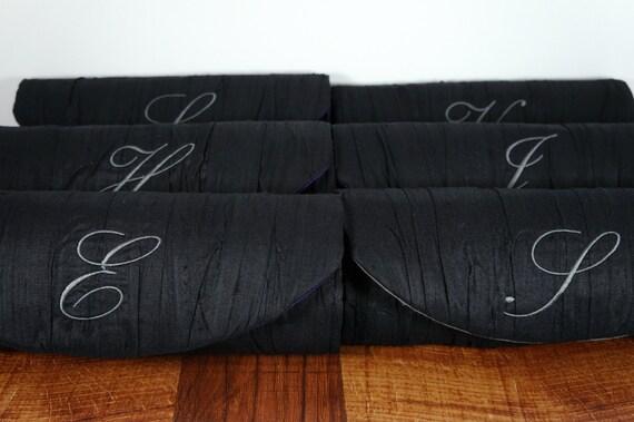Personalized bridesmaid bag. Custom clutch, Bridesmaid clutch with embroidered initial. Monogram Clutch. Custom silk clutch