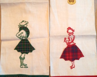 Two Linen Towels  - Riscue Scottish Lady and Gent... or are they? (LI106)