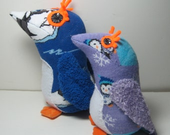 A pair of Crested Penguins, PAIKEA and KORO child safe upcycled sock toys, named after characters in the movie Whale Rider