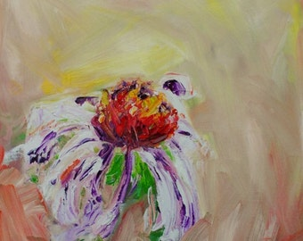 Coneflower-FINE ART PRINT Abstract Impressionism Flower Oil Painting