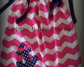 Ready to Ship Hot Pink Chevron Pillowcase Dress and Matching Boutique Hair bow