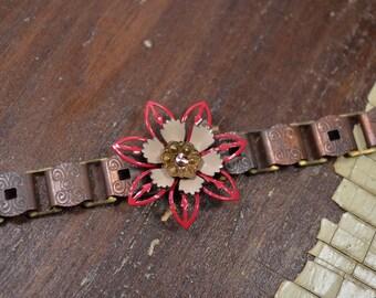 Vintage Copper Bar Bracelet Embellished with Vintage Enamel Flower Findings : ReaganJuel