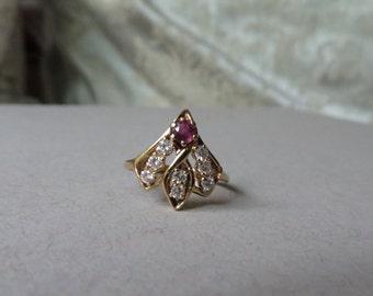 Custom 50's Mid Century Diamond & Ruby Fan Shape 14K Gold Ring