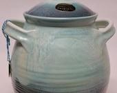 Vintage Cookie Jar  Dryden Pottery Turquoise with Original label