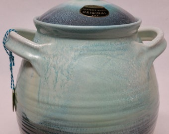 Vintage Cookie Jar  Dryden Pottery Turquoise with Original label