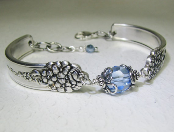 Spoon Bracelet with Light Sapphire Crystal, 'Moss Rose' 1949, Silverware Jewelry, Customizable