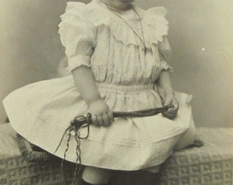French Antique CDV Photo  - Cute Child in a Lace Dress  (P. Bellingard, Lyon, France)
