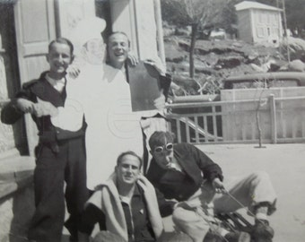 Vintage French Photograph - Group of Men in Font Romeu, France
