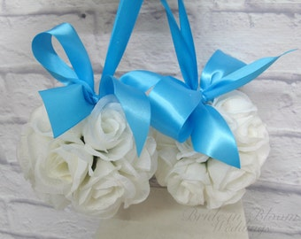 Wedding flower ball, Pomander Turquoise and White Wedding decorations, Ceremony Aisle pew markers