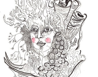 Original Abstract Surreal Pen and Ink Portrait Drawing, Unique Fashion Illustration featuring Coral Headdress- 10.03