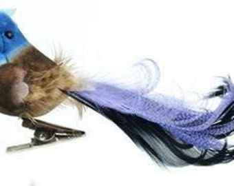 Artificial Decorative 4.5 Inch BRONZE Blue Jay with Feather Tail on Clip - Craft Embellishment - Home Decor