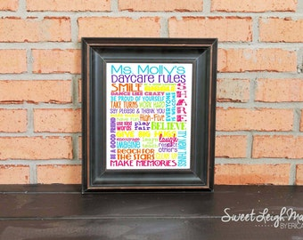 DIGITAL FILE - Daycare Rules – Personalized Sign – Daycare Gifts – Add Teacher's Name – Teacher Gift – Classroom Art – Childcare - Brights