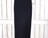 Ralph Lauren black wool maxi pencil skirt/long high waisted black wool skirt/fitted black skirt/6