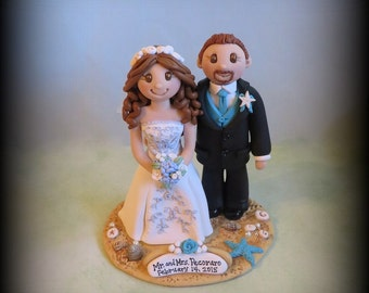 Wedding Cake Topper, Custom Wedding Topper, Bride and Groom, Beach Theme, Personalized, Polymer Clay, Keepsake