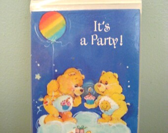 Vintage Care Bears Birthday Party Invitations