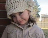Girl's Ribbed Brim Beanie with Flower!