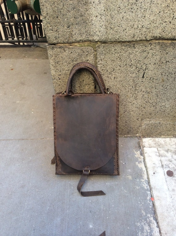 Sheffield Tote / Leather Tote Bag Handmade in NYC / Rustic Leather Shopper Bag / Dark Brown Tote / Handmade Leather Bag / Purses Handbags