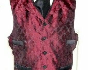 Mans Victorian Steampunk Vest Wedding Groom Wastcoat in Red Wine and Black Silk Brocade