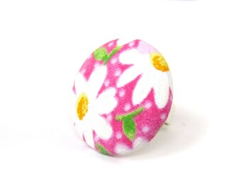 Pink daisy ring - large fabric ring - big button ring - white green flower bright cute