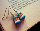 Stack of Books Earrings, Blue/Orange/White (Made to Order) - Book Jewelry by Coryographies