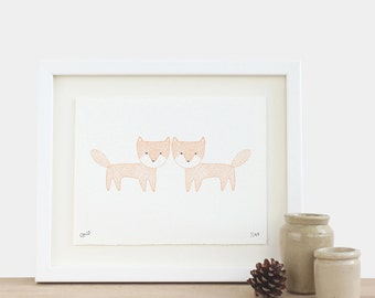 Two Foxes - limited edition A5 fox print orange black white birthday mothers fathers day Christmas gift idea