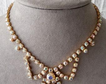 Vintage Aurora Borealis Rhinestone Choker Necklace & Earrings Set
