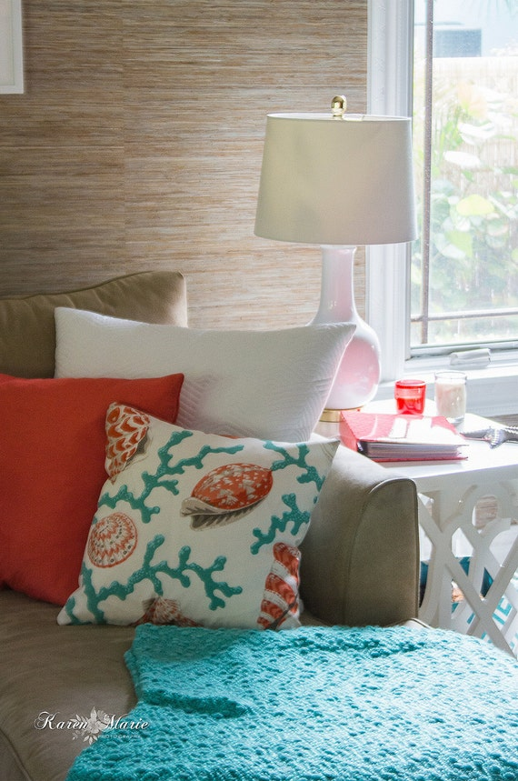 Beach House Coral and Seashell Pillow or Pillow Cover - 18x18 - Sea Foam and Coral