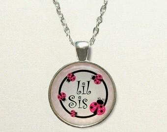 Ladybug Lil Sis Necklace - little sister necklace, little sister jewelry, little sister gift, for sister, kid ladybug necklace, kids jewelry