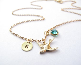 Sparrow Charm Necklace // Initial Necklace // Birthstone Necklace // Bird Necklace // Engraved // Personalized Necklace //