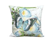 Aqua Forest Butterfly Pillow Cover - Blue Trumpet Vine Flower Pillow - 12x 14x 16x 18x 20x 22x 24x 26x Inch Linen Butterfly Cushion Cover