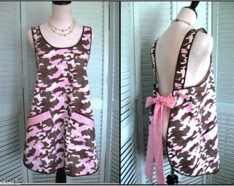 Cutest Ladies Camo Smock/Apron Ever-Pink Camo and  Polka Dots-SM/Med