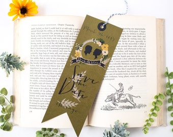 DIY printable- Bookmark save the date- Library book wedding collection