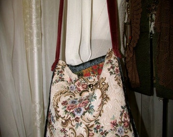 Floral Tapestry Purse - handmade with mixed fabrics of red velvet, blue chenille, upcycled denim, grandmadede fabric bags
