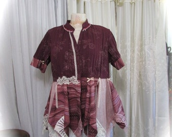 Plum Cotton Blouse, uneven asymmetrical hemline, altered clothing refashioned clothing, recreated womens top LARGE