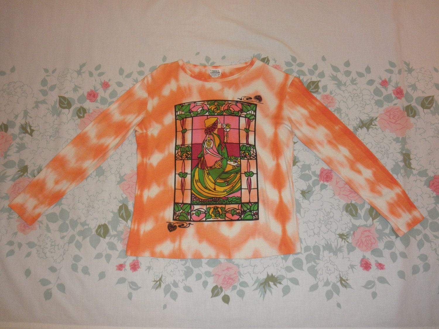 70s hippie tie dye shirt 1970s art nouveau stained glass