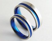 Titanium Wedding Rings , The Cosmos Bands in Nightfall Blue