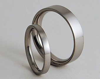 Wedding Bands , Titanium Rings , Aphrodite and Apollo Bands with Comfort Fit