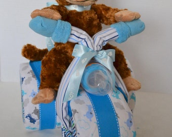 Diaper cake, Motorcycle Diaper Cake Baby Shower Gift, Baby Cake, Tricycle, Trike,  3-Wheeler ATV Monkey, Baby Boy ,Centerpiece,