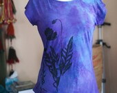 medium and large purple poppy tshirt hand dyed and printed