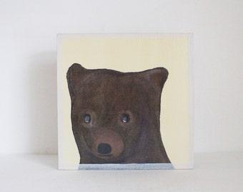 woodland nursery art- brown bear art print- forest animals- nursery woodland art- animal print- nursery forest -bear decor- redtilestudio