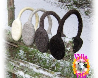 OLLI felted earmuffs in natural colors unisex adjustable wool  dark brown,dark grey, light grey or off white -Made To Order