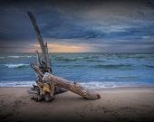 Sunrise over a Sandy Beach with Driftwood on Lake Huron by Oscoda Michigan No.15 - A Fine Art Nautical Seascape Photograph