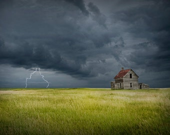 Thunderstorm with Lightning on the Prairie with Abandoned Farm House in North Dakota A Fine Art Nature Landscape Photograph