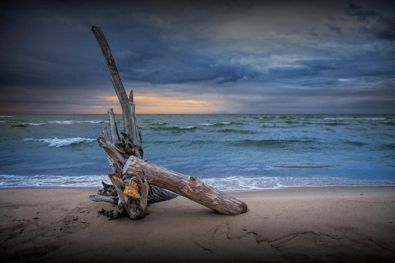 Sunrise over a Sandy Beach with Driftwood on Lake Huron by Oscoda Michigan No.15 - A Fine Art Nautical Seascape Photograph